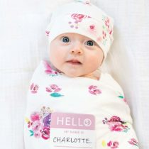 Set Hello World, Cappellino + Swaddle, Rose, 120 x 120 cm – Bambù – Lulujo